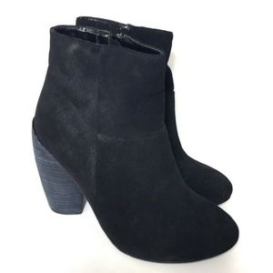 N.Y.L.A. Monrovia Leather Booties 8 Black Zipper